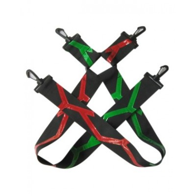 lightning strike red and green suspenders