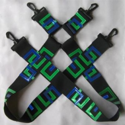 .Digital green and blue suspenders