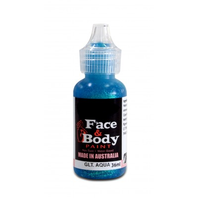 Face & body paint with spout - Glitter aqua 36ml