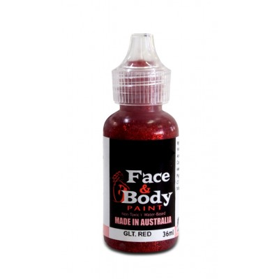 Face & body paint with spout - Glitter red 36ml