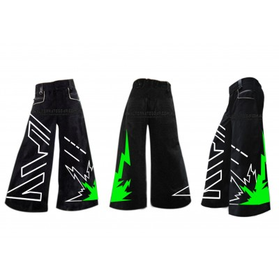 Thunderclap phat pants green white with free matching suspenders