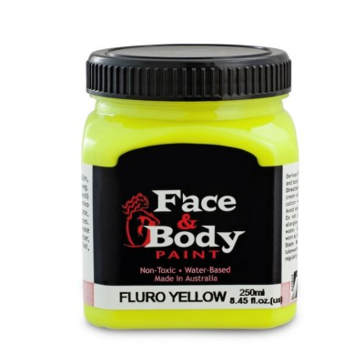 .Face and body paint fluro/uv yellow 250ml