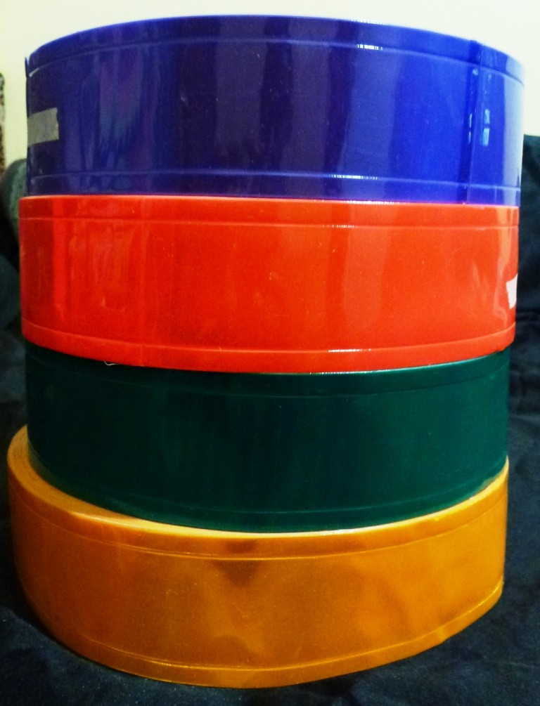 Reflective tape 5cm wide assorted colours 25 metres