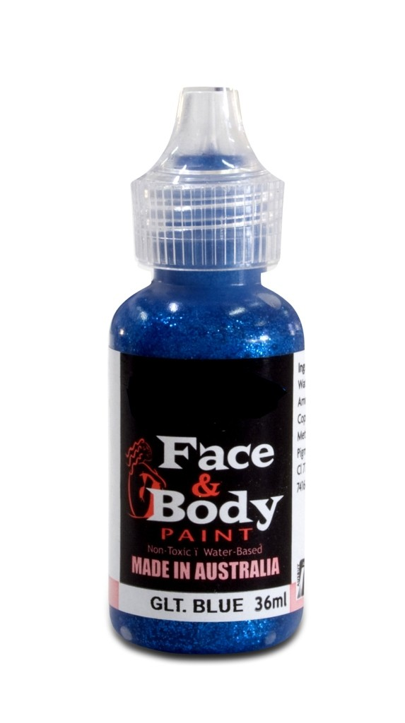 Face & body paint with spout - Glitter blue 36ml