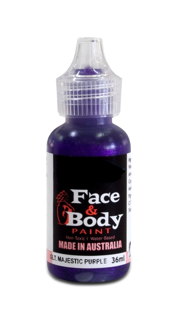 Face & body paint with spout - Glitter magestic purple 36ml