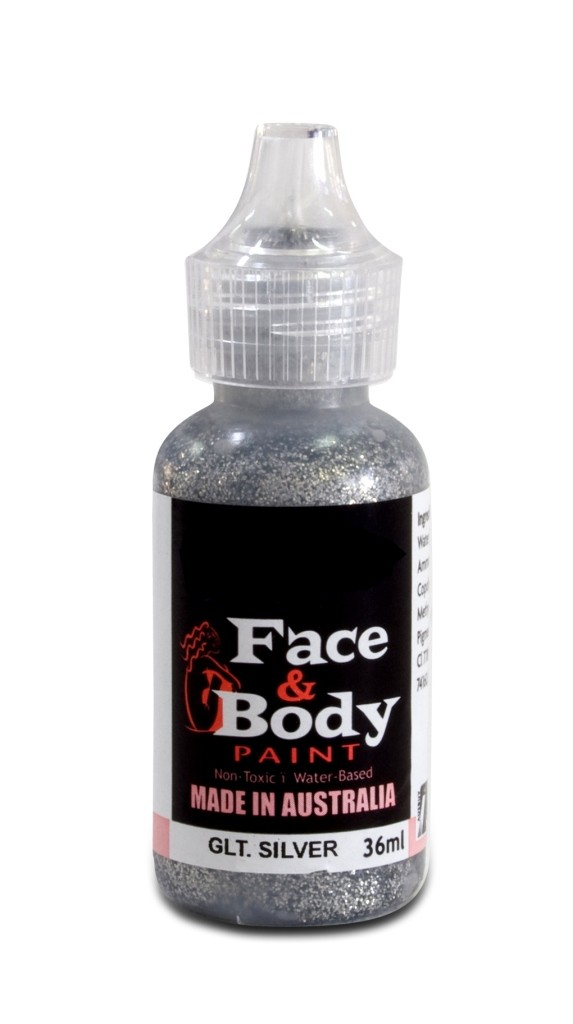 Face & body paint with spout - Glitter silver 36ml