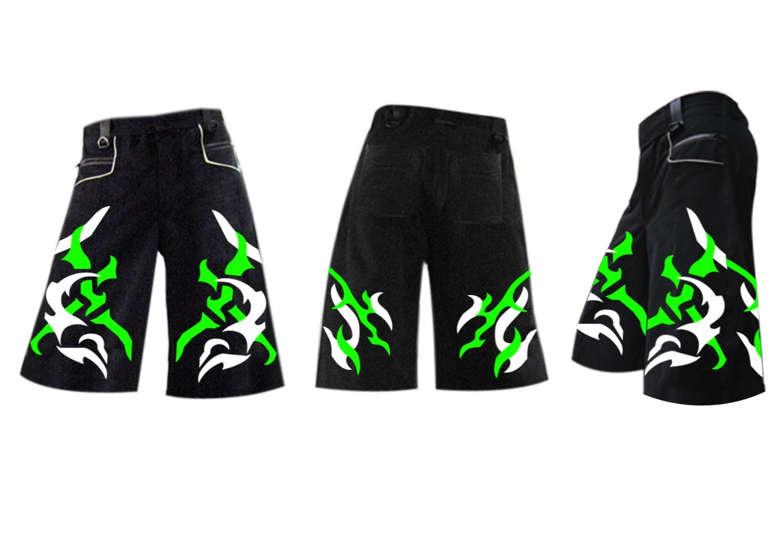 Fury green white phat shorts
