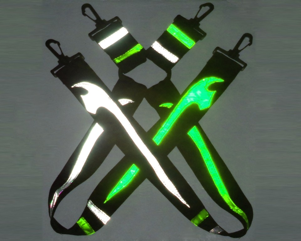 ..Axe - green white suspenders