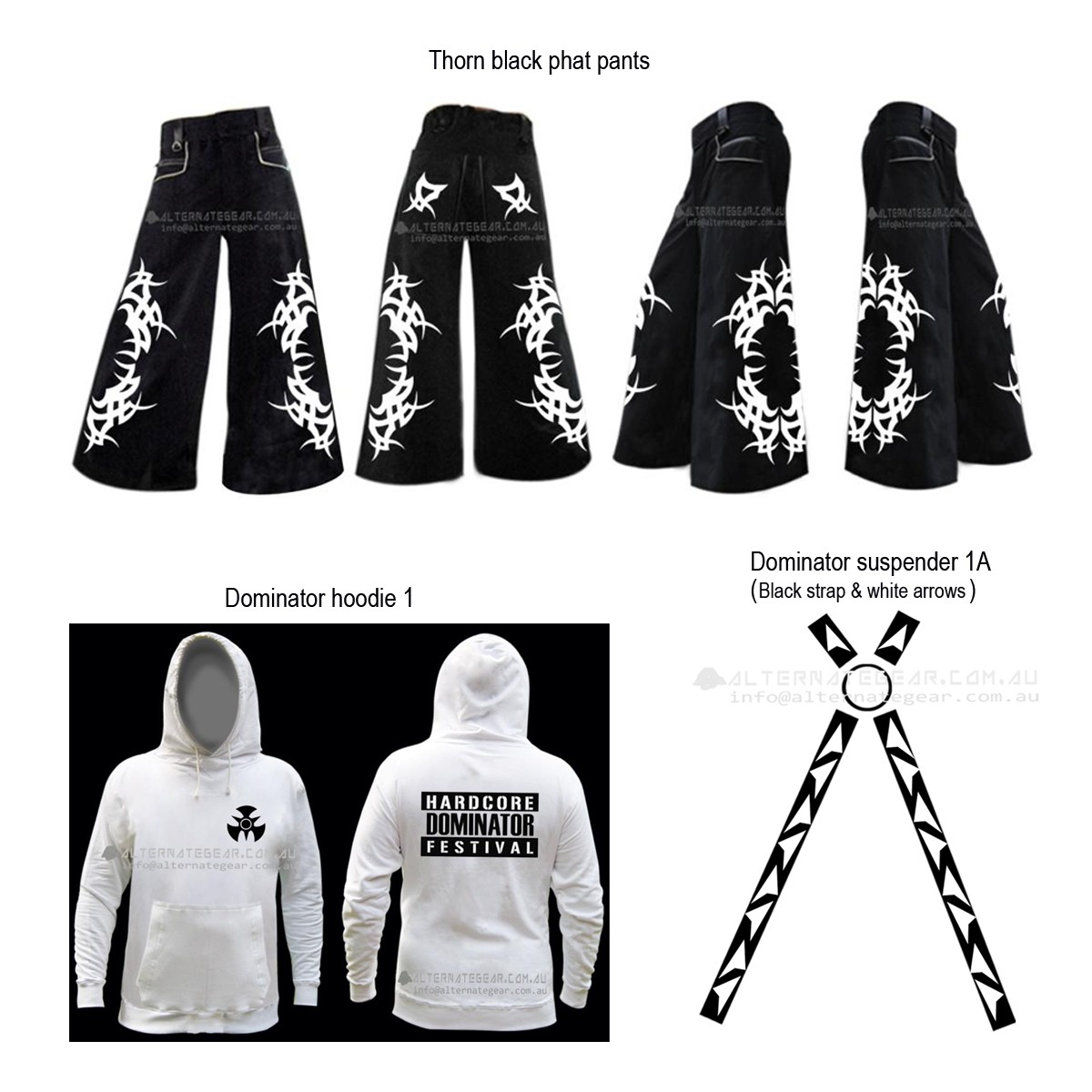 Thorn bundle - phat pants, hooodie & suspenders