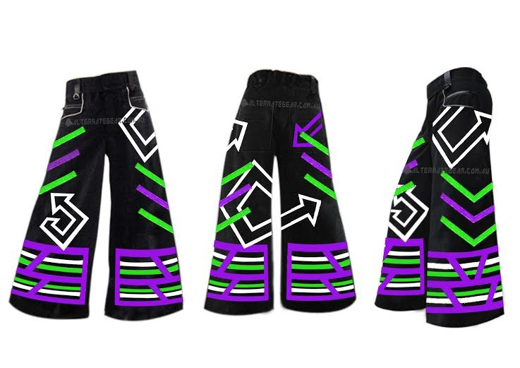 ..Phat pants STRAPPY RETRA purple and green
