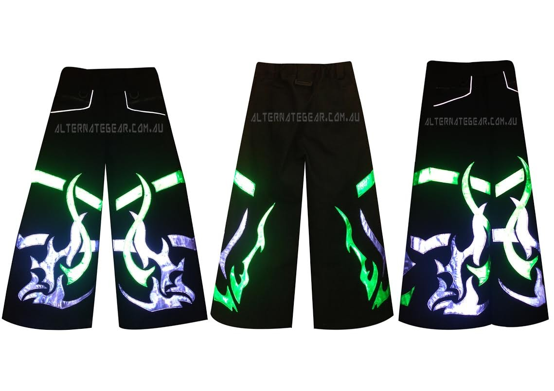 .phat pants FIRE TRIBAL purple green  - with free suspenders