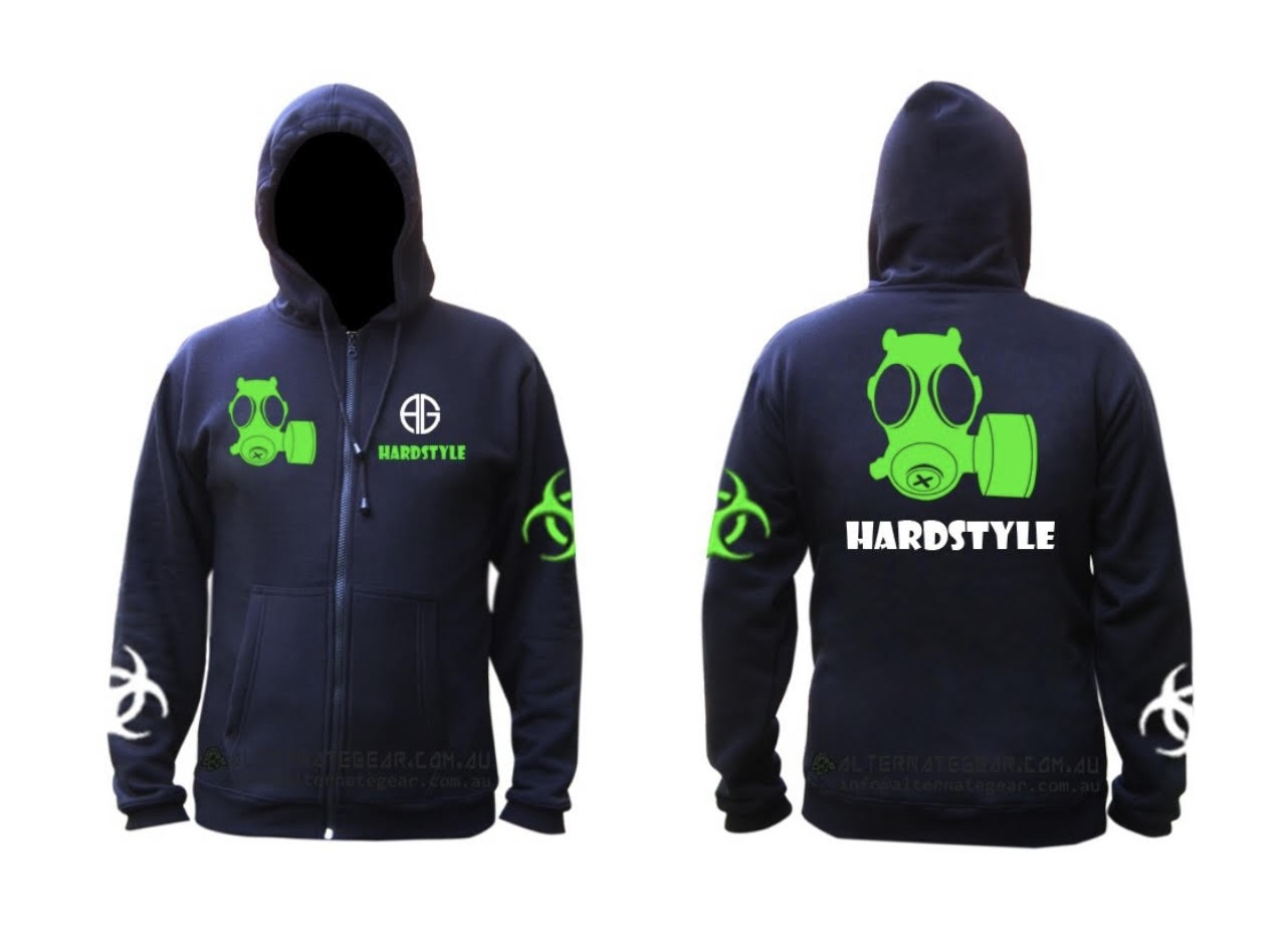Hardstyle hoody - green and white