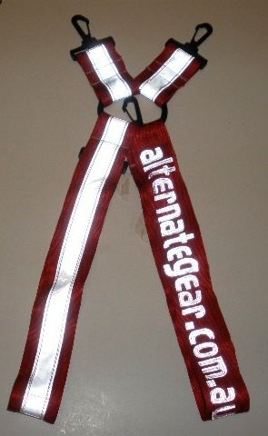 Alternategear logo white on red webbing